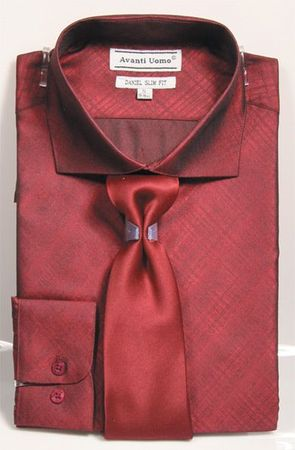 Men's Slim Fit Dress Shirt Tie Set Burgundy Shiny Plaid DNS07