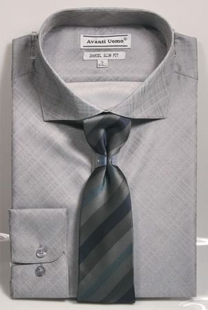 Men's Slim Fit Dress Shirt Tie Set Gray Shiny Plaid DNS07