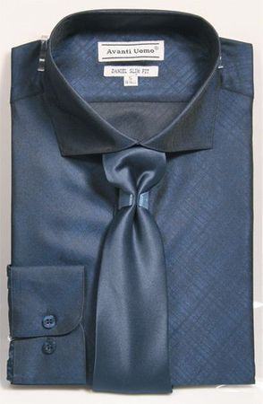 Men's Slim Fit Dress Shirt Tie Set Navy Shiny Plaid DNS07