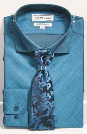 Men's Slim Fit Dress Shirt Tie Set Teal Shiny Plaid DNS07
