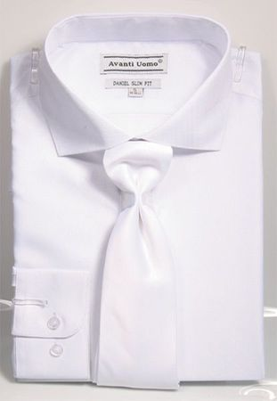 Men's Slim Fit Dress Shirt Tie Set White Shiny Plaid DNS07