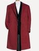 Men's Soft Wool Overcoat Burgundy Color Three Button Topcoat Alberto Nardoni