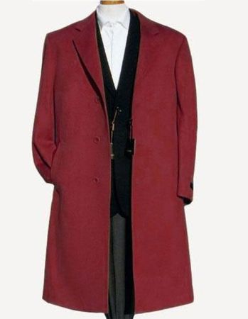 Men's Soft Wool Overcoat Burgundy Color Three Button Topcoat Alberto Nardoni - click to enlarge