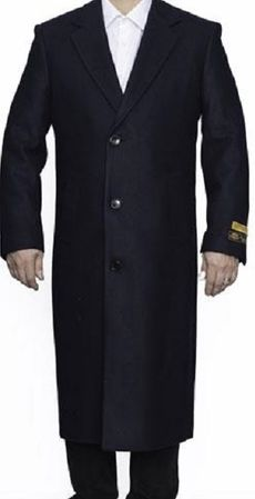 Men's Navy Blue Wool Overcoat Split Back Topcoat Alberto Nardoni - click to enlarge