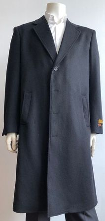 Men's Black Wool Blend Full Length Overcoat Alberto Nardoni Coat-44 - click to enlarge