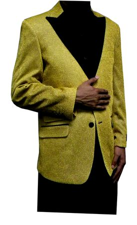 Mens Gold Glitter Blazer Entertainer Style Matching Bow Tie