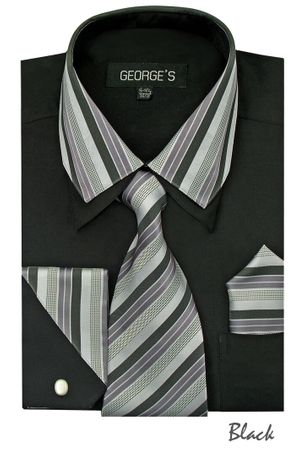 Men's Stylish Black Stripe Collar Dress Shirt Tie Combo AH611