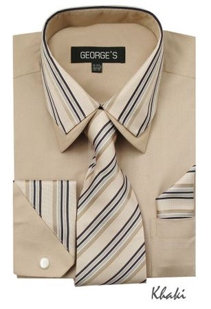 Men's Stylish Khaki Stripe Collar Dress Shirt Tie Combo AH611