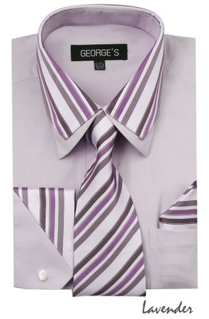 Men's Stylish Lavender Stripe Collar Dress Shirt Tie Combo AH611