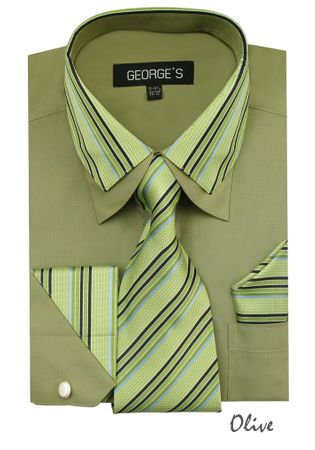 Men's Stylish Olive Stripe Collar Dress Shirt Tie Combo AH611