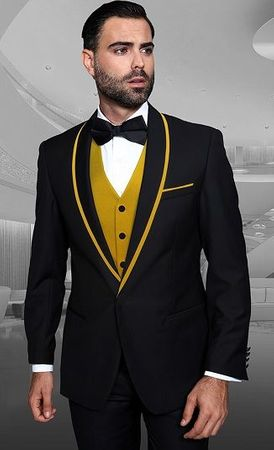 Men's Stylish Black and Gold Modern Fit Fashion Tux Statement Genova-2