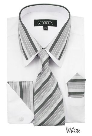 Men's Stylish White Stripe Collar Dress Shirt Tie Combo AH611