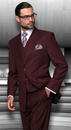 Men's Suits with Vest Burgundy 3 Piece Vinci V2TR