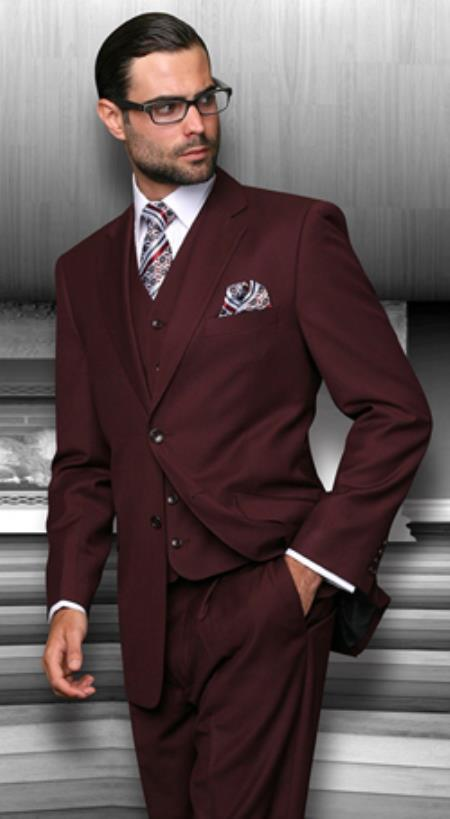 Regular Fit Men S Suits With Vest Burgundy 3 Piece Vinci V2tr