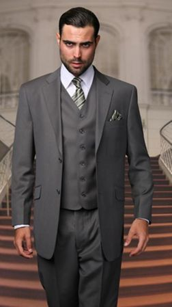 Men's Suits with Vest Charcoal Gray 3 Piece Vinci V2TR