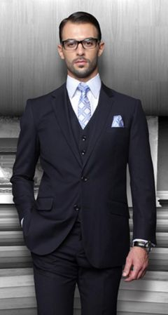 Men's Suits with Vest Dark Blue 3 Piece Vinci V2TR