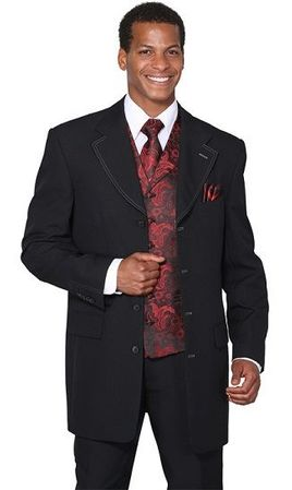 Mens Dress Suits by Milano Moda Black Red Fancy Vest 3 Piece 6903V Size 38 Long and 54 Reg Final Sale