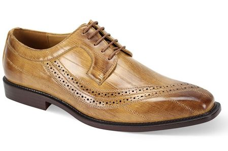 Men's Tan Eel Print Italian Style Dress Shoes Antonio Cerrelli 6780