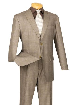 Men's Tan Glen Plaid Suit Flat Front Pants 2RW-1