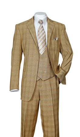 Men's Tan Plaid 3 Piece Fashion Suit Scoop Vest Milano 5702V6