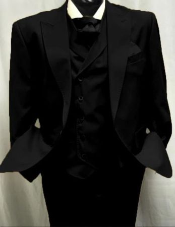 Mens Black Wool Suit Double Breasted Vest Alberto Gadson54