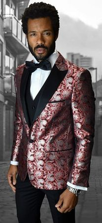 Men's Trendy Modern Fit Fashion Suit Red Floral Tux Statement Bellagio-4