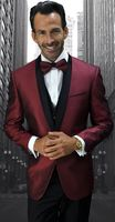 Men's Trendy Modern Fit Fashion Suit Burgundy Fine Dot Pattern  Tux Statement Bellagio-6