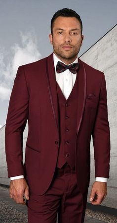 Statement Mens 3 Piece Burgundy Modern Fit Tuxedo Caesar