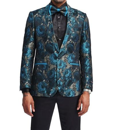 Men's Turquoise Slim Fit Floral Prom Jacket Matching Bow Tie Tazio MJ339S-2