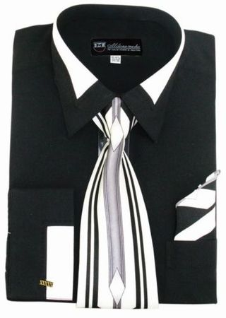 Men's Unique Black French Cuff Dress Shirt Fancy Collar Tie Set SG34