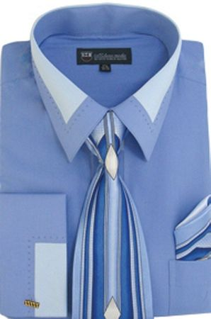 Men's Unique Blue French Cuff Dress Shirt Fancy Collar Tie Set SG34