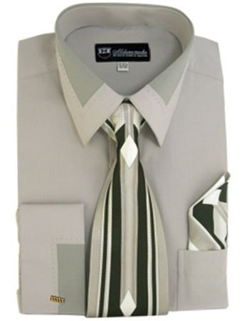 Men's Unique Gray French Cuff Dress Shirt Collar Tie Set SG34