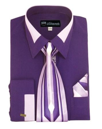 Men's Unique Purple French Cuff Dress Shirt Fancy Collar Tie Set SG34