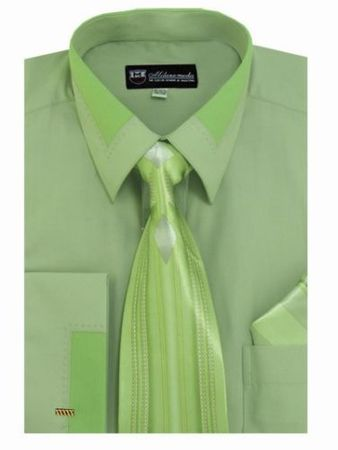 Men's Unique Sage French Cuff Dress Shirt Fancy Collar Tie Set SG34