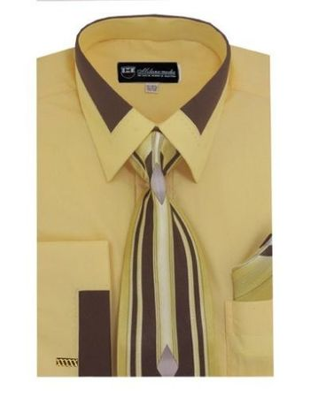 Men's Unique Gold French Cuff Dress Shirt Fancy Collar Tie Set SG34