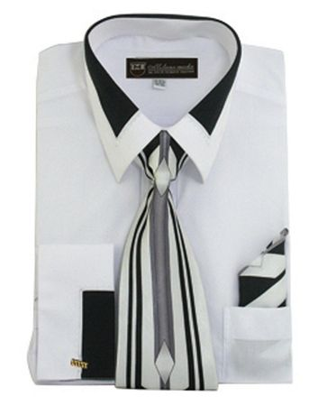Men's Unique White French Cuff Dress Shirt Fancy Collar Tie Set SG34