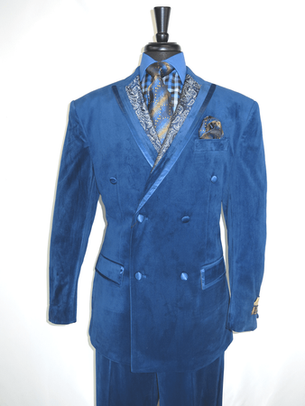 Men's Blue Velvet Double Breasted Suit Wide Leg Vinci F2DG-1 - click to enlarge