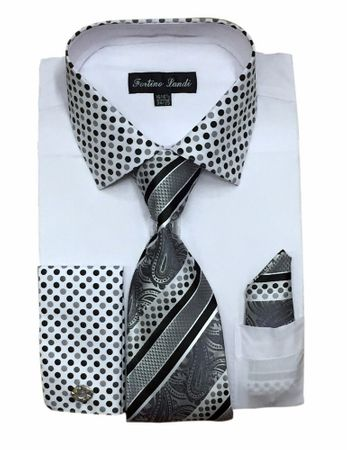 Men's White Dot Collar Cuff Dress Shirt Tie Set Fortino FL630