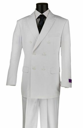 Men's White Double Breasted Suit Pleated Pants Vinci DC900-1