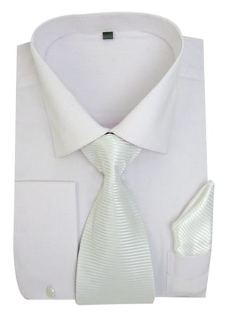 Men's White French Cuff Dress Shirt Spread Collar Tie Set SG27