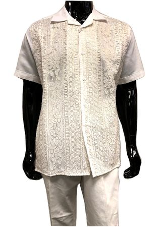 Men's White Linen Gold Lace Front Outfit Successo 3354SP