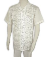 Men's White Linen Sequin Front Outfit Successo 3355SP