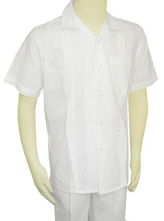 Men's White Linen Walking Suit Guayavera Outfit SP3351