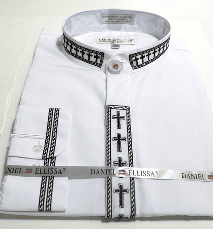 Men's White Mandarin Collar Shirt with Cross Embroidery DS2005C