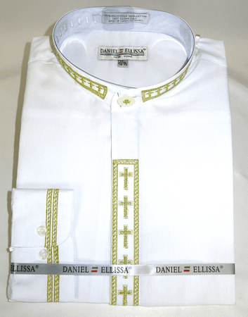 Men's White Mandarin Collar Shirt with Gold Cross Embroidery DS2005C