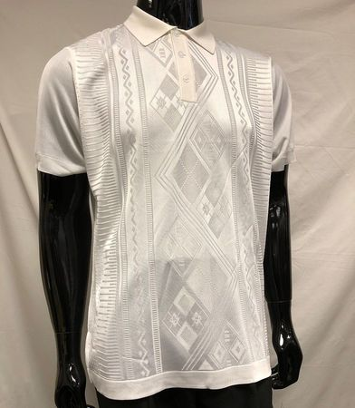 Men's White Shiny Knitted 1960s Style Polo Shirt by Pronti K6414