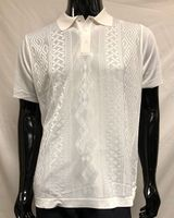 Men's White Shiny Knit 1960s Style Polo Shirt by Pronti K6414