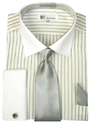 Men's White Stripe White Collar French Cuff Dress Shirt Tie SG17
