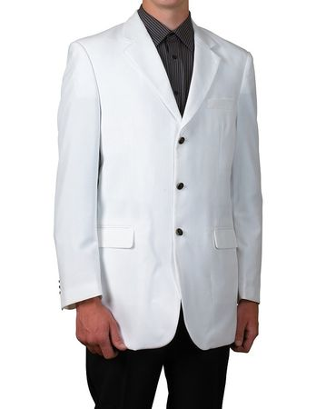 Mens White 3 Button Suit Jacket Classic Fit Blazer Lucci Z-3PP