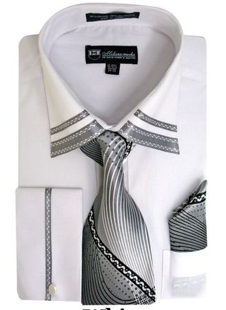 Men's White Trim Collar Dress Shirt Matching Tie Set SG28